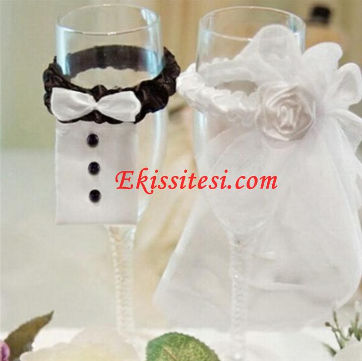 Evde Düğün Bardağı Süsleme Ek işi